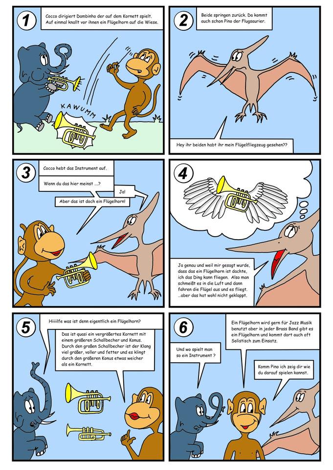 Comic Flügelhorn, Flugsaurier, Auftragsarbeit für Musik- Instrumentenhändler