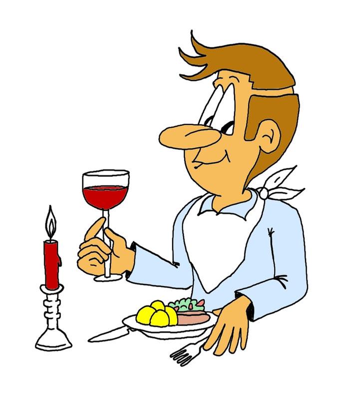 Karikatur für Speisekarte oder für Gastrounternehmen