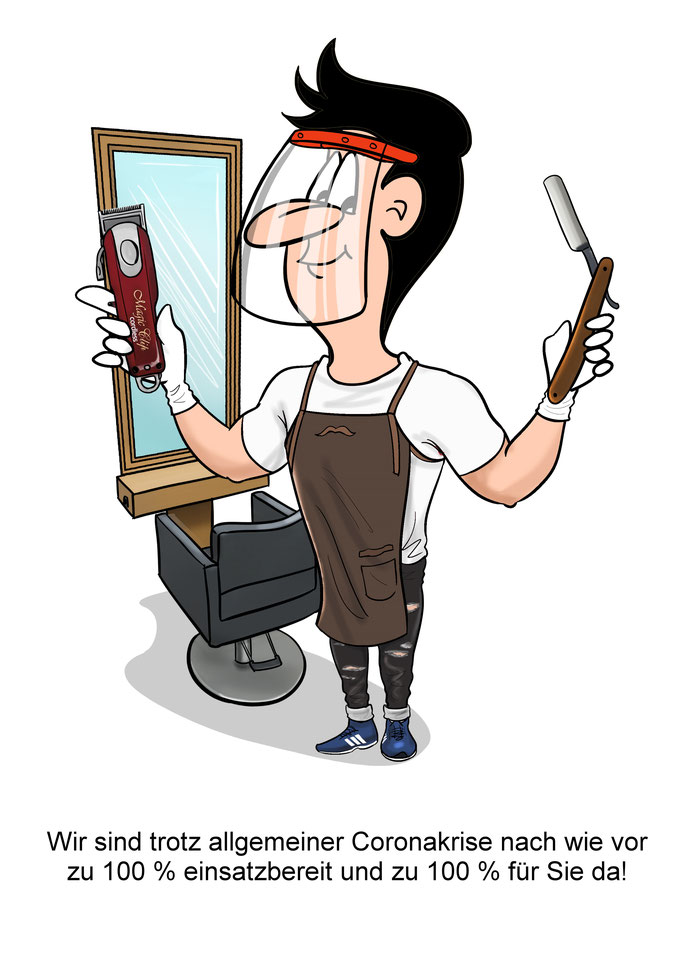 Karikatur Frisör, Barber Shop, Corona