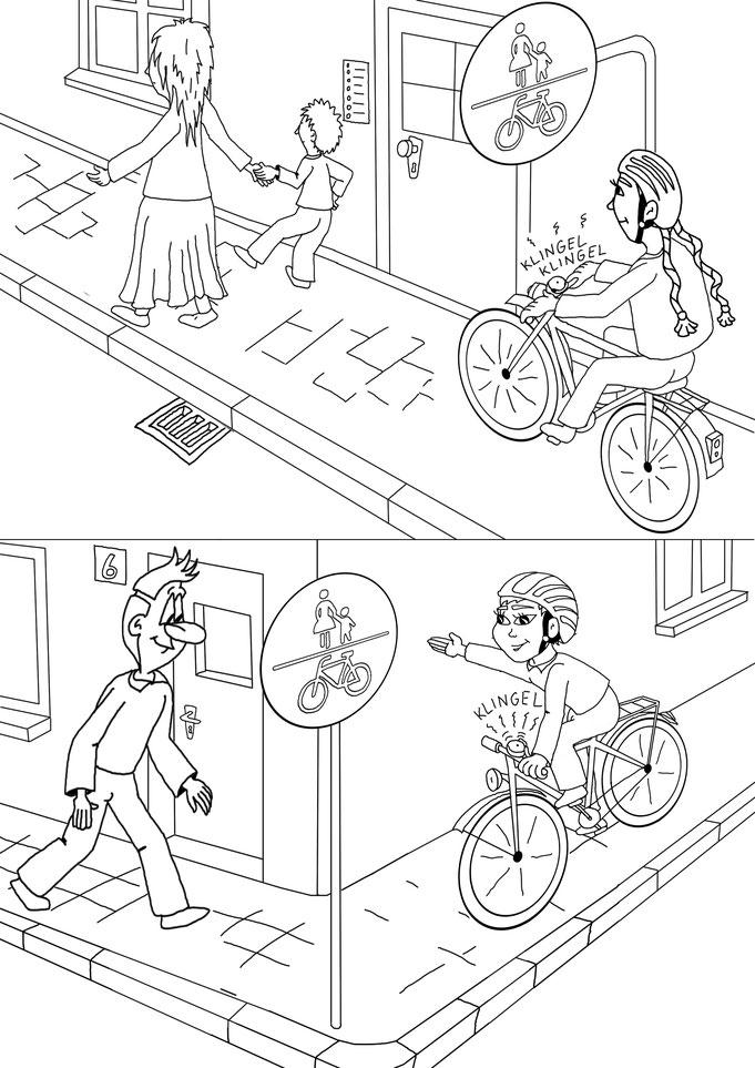 Malbuch, Ausmalbilder, Stvo, Schule, Straßenverkehr, Karikatur Fahrrad, Fußweg