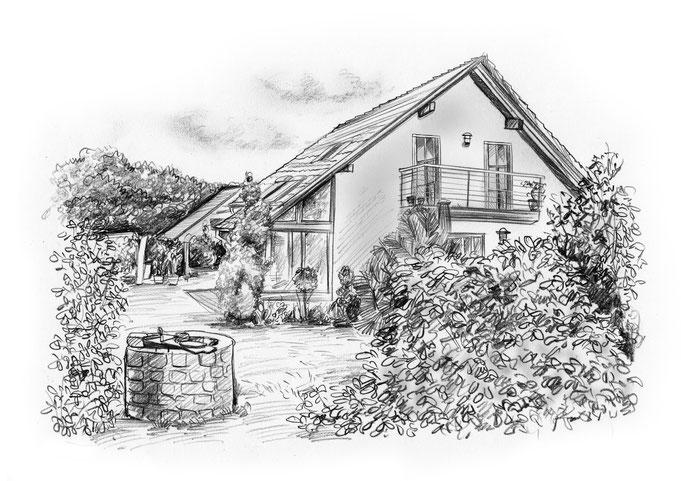 Haus malen lassen, Bleistift Zeichnung, schwarz - weiß