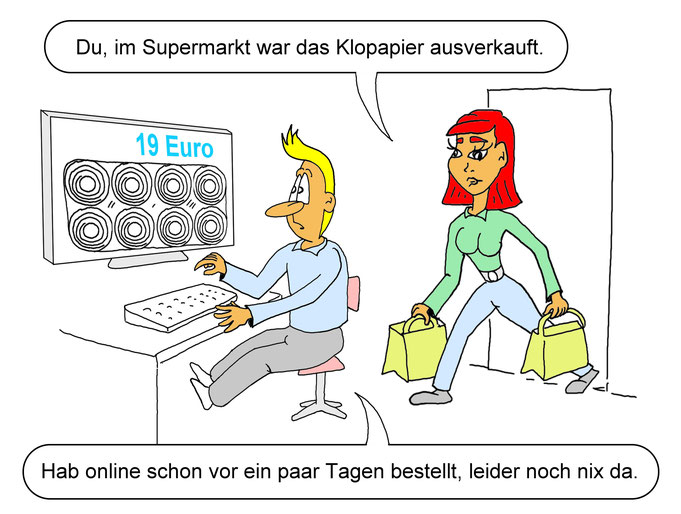 Karikatur Online Handel boomt, Toilettenpapier, Trickbetrüger, Coronakrise