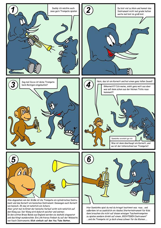 Comic Trompete, Kornett, Elefant