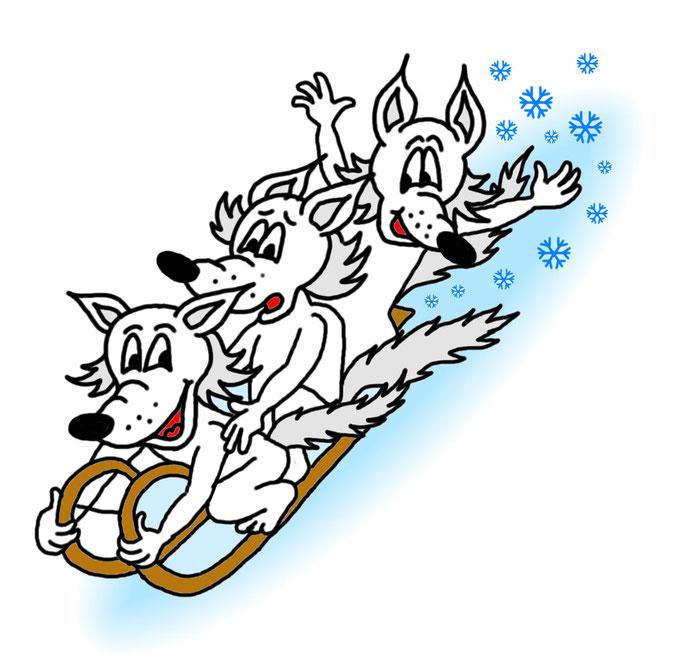 Karikatur zeichnen lassen, Schneefüchse