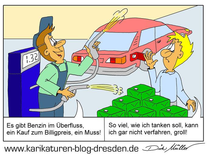 Karikatur Ölkrise, Preissturz Öl, Benzin