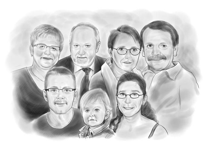 Gruppen Karikatur vom Foto zeichnen lassen