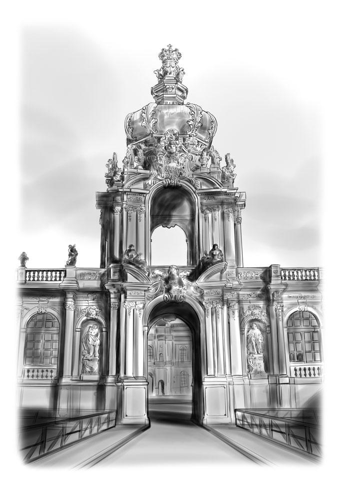 Zwinger Dresden, Kronentor, Bleistift, Bleistiftzeichnung