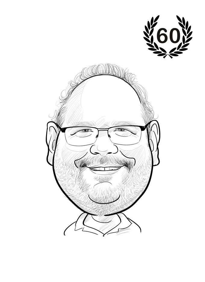 Karikatur vom Foto, 60ster Geburtstag