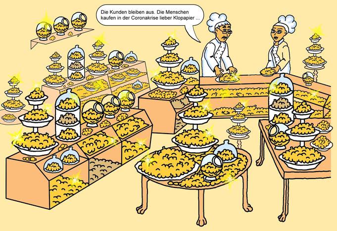 Karikatur Corona Krise, Klopapier, Hamsterkäufe