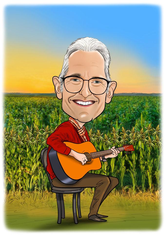 Karikatur vom Foto, Musiker, Sänger