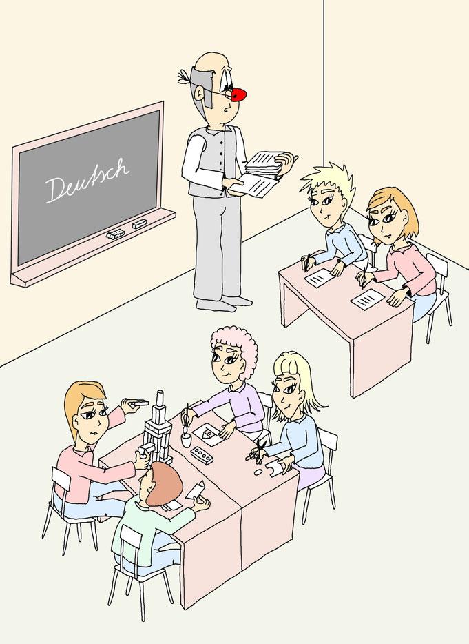 Karikatur Lernmethoden Schule, Lehrer
