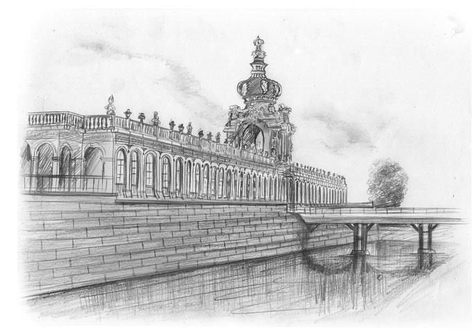 Dresden  Zwinger, Bleistift, Bleistiftzeichnung