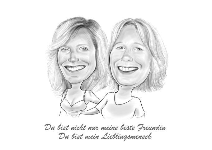 Karikatur vom Foto Freunde, Bleistift