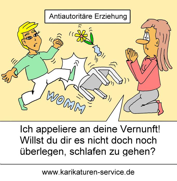 Karikatur antiautoritäre Erziehung