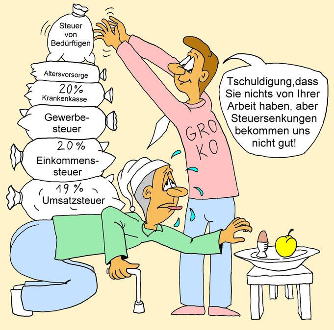 Karikatur Steuersenkung, Steuererhöhung, Steuer