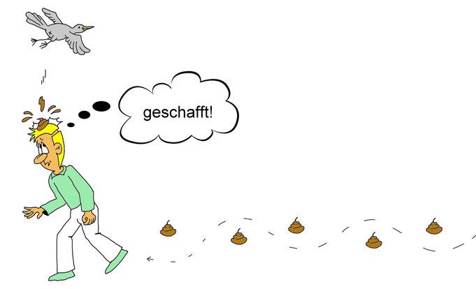 Karikatur Vogelkacke, Vogelkot