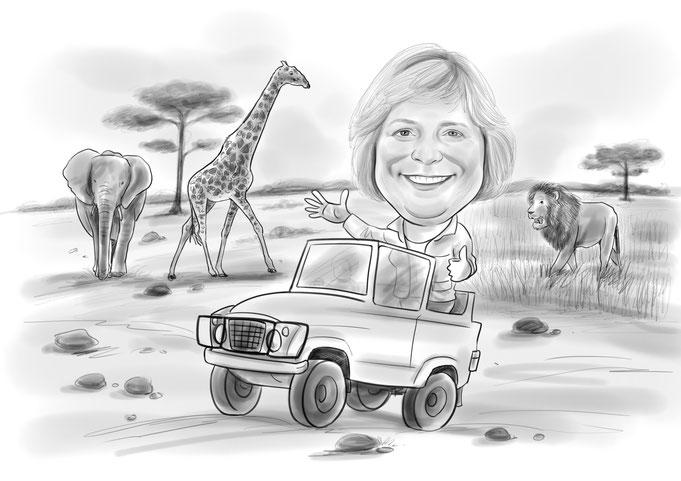 Karikatur vom Foto, Safari