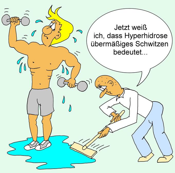 Hyperhidrose, Karikatur, übermäßiges Schwitzen