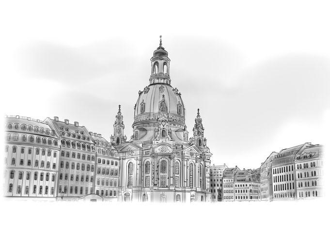 Dresden Neumarkt Frauenkirche Bleistift, Bleistiftzeichnung