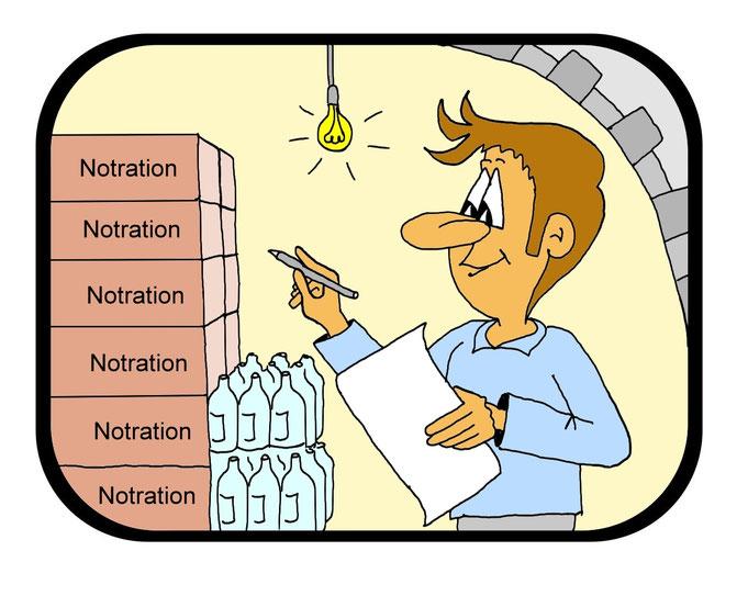 Karikatur Notration, Hamsterkäufe, Coronavirus