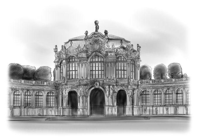 Bleistiftzeichnung, Wallpavillon Dresden