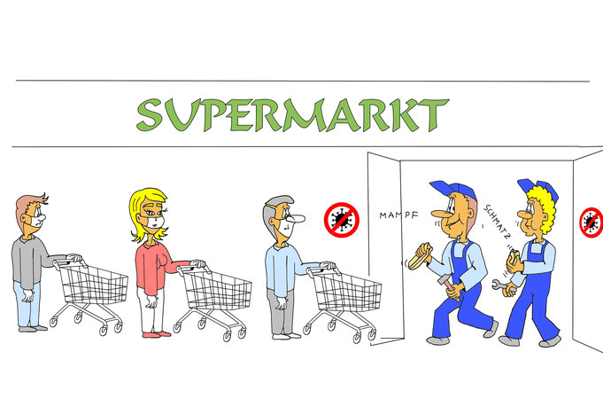 Cartoon, Comic Handwerker Corona, Supermarkt, Auftragsarbeit