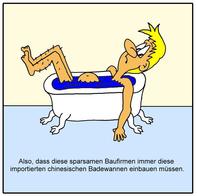 Karikatur chinesische Badewanne, Bad