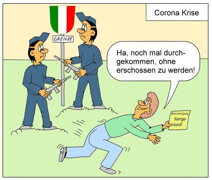Coronavirus lustig, lustiges, Brenner, Grenze Italien, Österreich, Corona