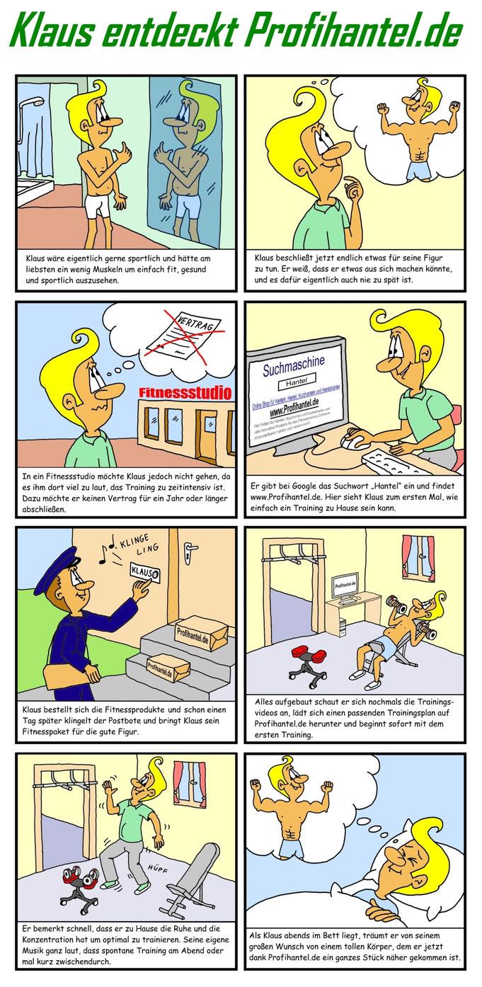Comic zeichnen, erstellen, anfertigen lassen, Fitness, Hanteln