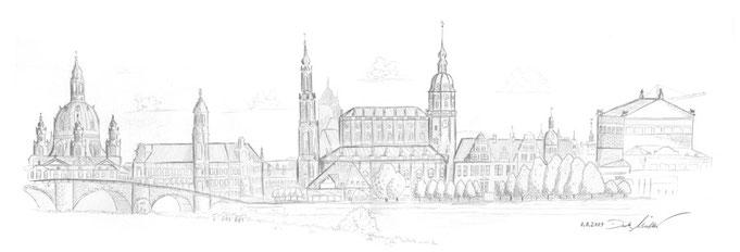 Skyline Dresden, Bleistiftzeichnung