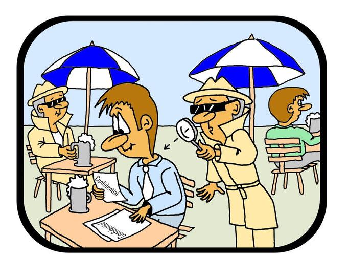 Karikatur Industriespionage, Spion, Geheimakte