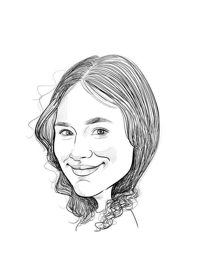 Karikatur vom Foto, Frau, nur Kopf, schwarz weiß