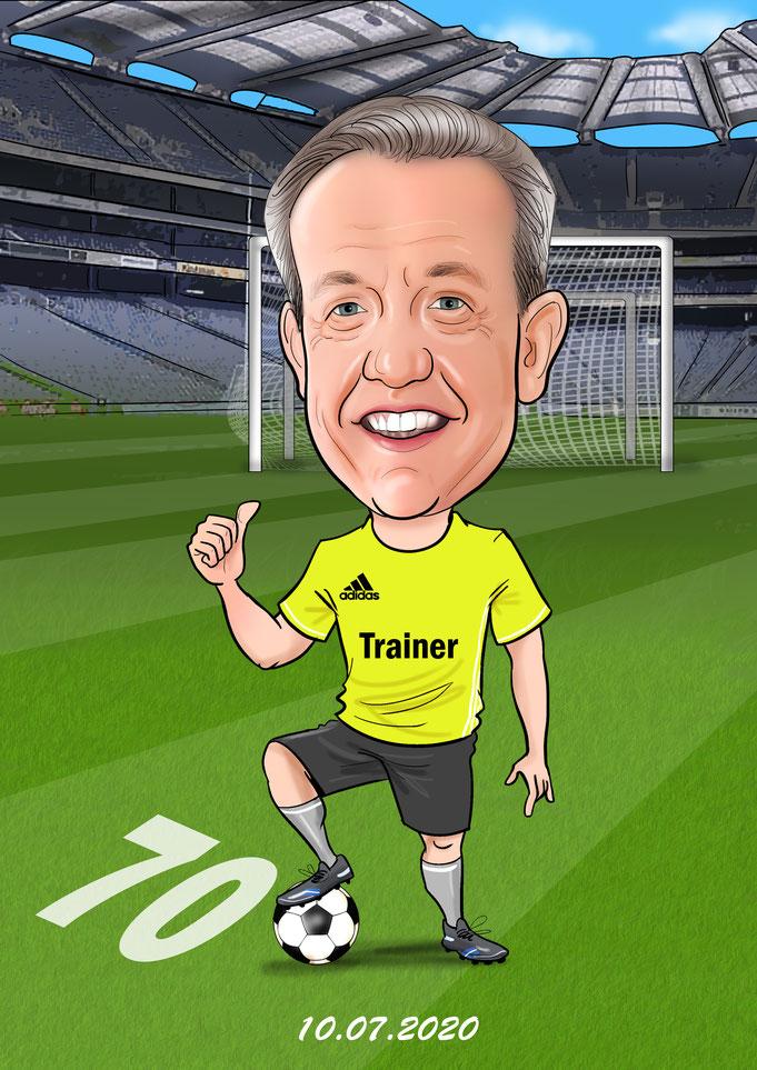 Karikatur vom Foto, Fußballer