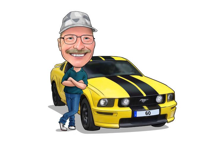 Karikatur vom Foto zeichnen lassen, Auto