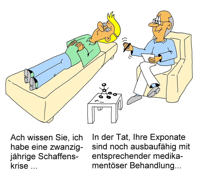 Karikatur Schaffenskrise, Psychopharmaka