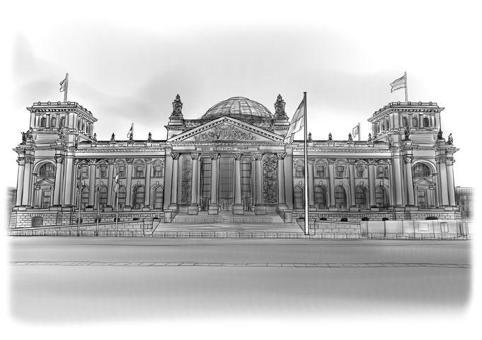 Berlin Bundestag, Reichstagsgebäude, Bleistift, Bleistiftzeichnung