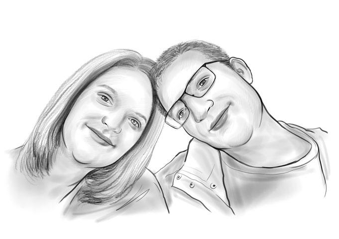 Karikatur vom Foto, Bleistift, Paar