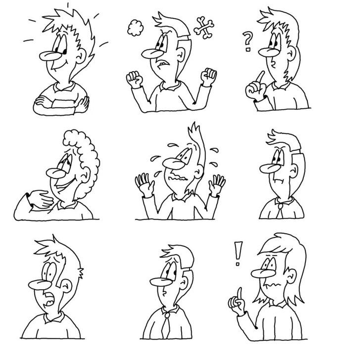 Ausdruck verschiedener Gefühle in der Karikatur
