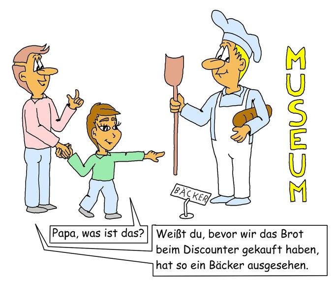 Karikatur Brot vom Discounter, statt Bäcker