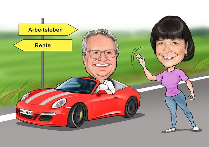 Karikatur vom Foto Arbeit - Rente