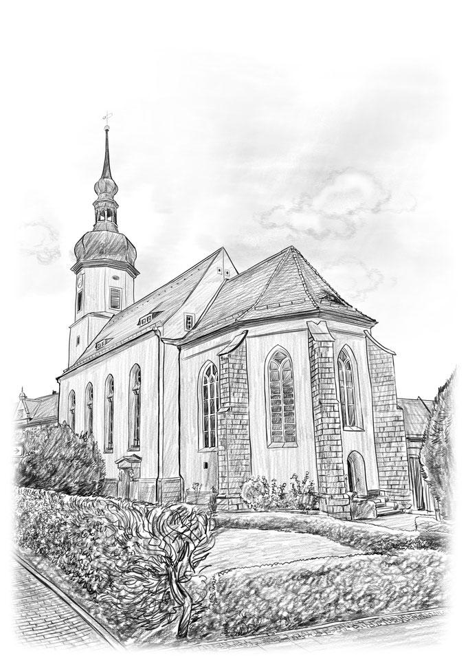 Bleistiftzeichnung Klosterkirche Riesa