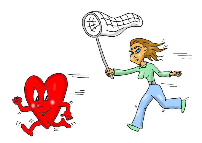 Karikatur Single, krampfhafte Partnersuche