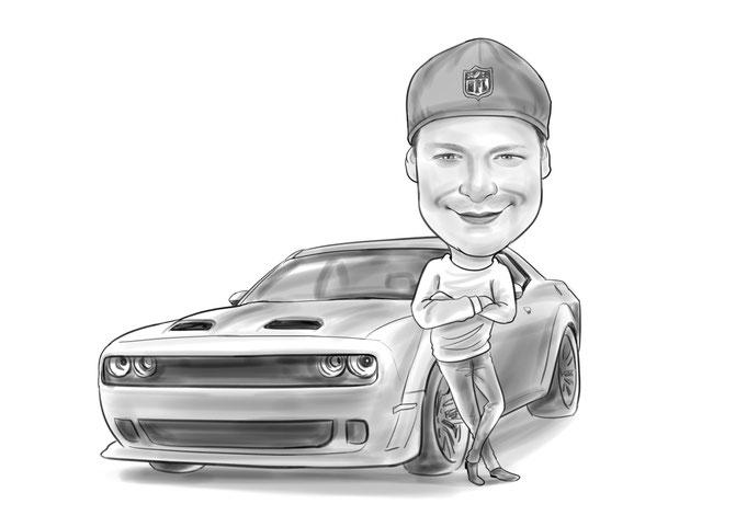Karikatur vom Foto, Auto
