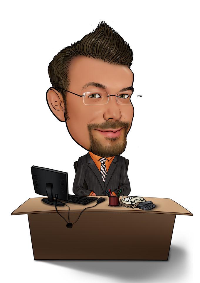 Karikatur vom Foto, Schreibtisch, Büro