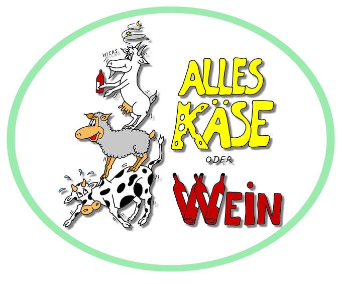 Karikatur Logo Käse & Wein erstellen lassen