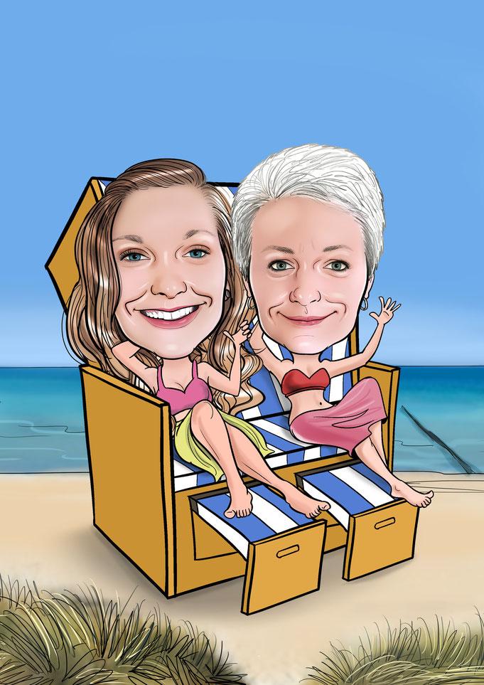 Karikatur vom Foto, Strandkorb, Urlaub