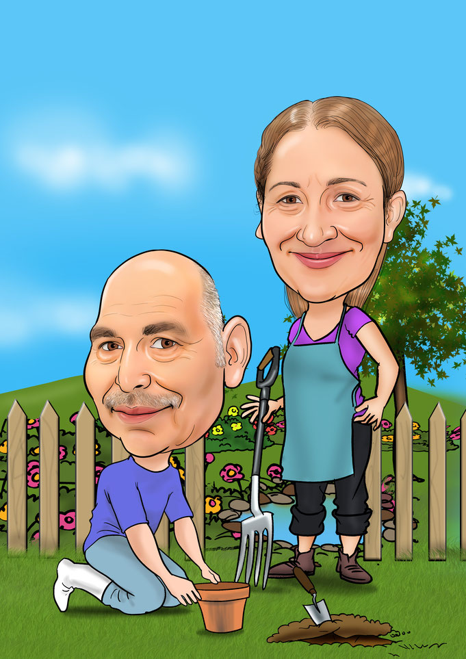 Karikatur vom Foto Garten, Gartenarbeit, Bungalow, Eltern