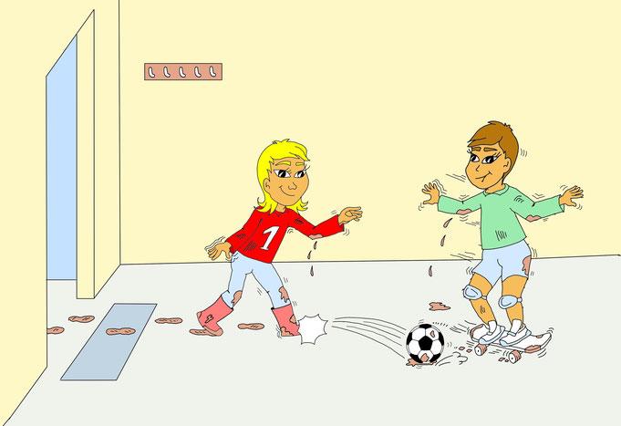 Karikatur spielende Kinder