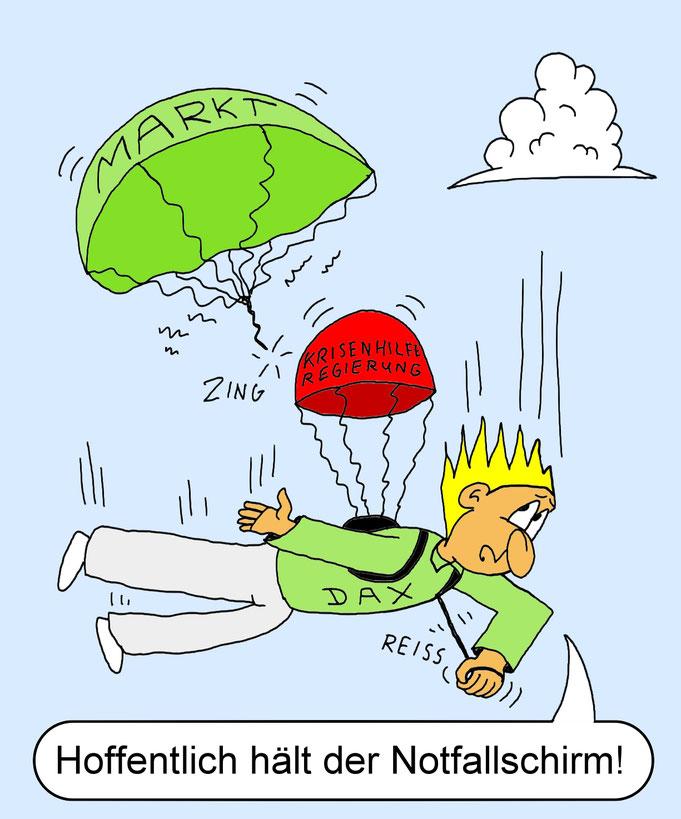 Karikatur DAX, Corona Krise, Rezession, Börse