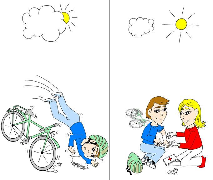 Comic, Cartoon Erste Hilfe, Unfall, Fahrrad